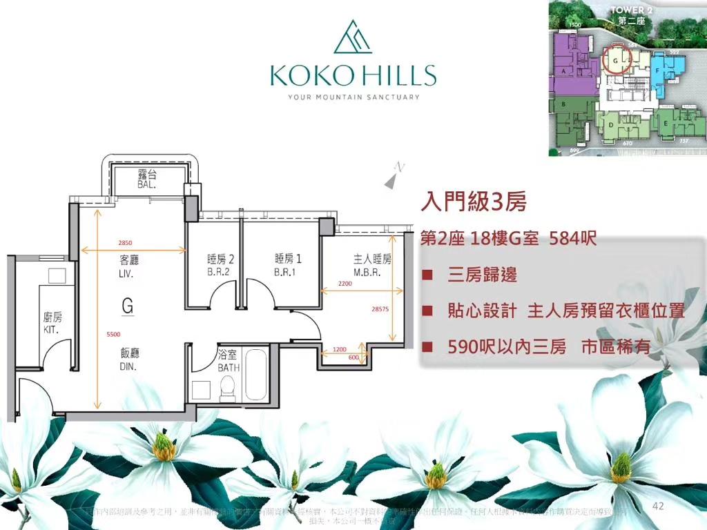 茶果岭KOKO HILLS3房户型图